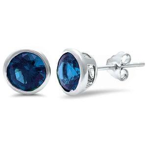 Bezel Round Simulated Blue Sapphire Stud Earrings